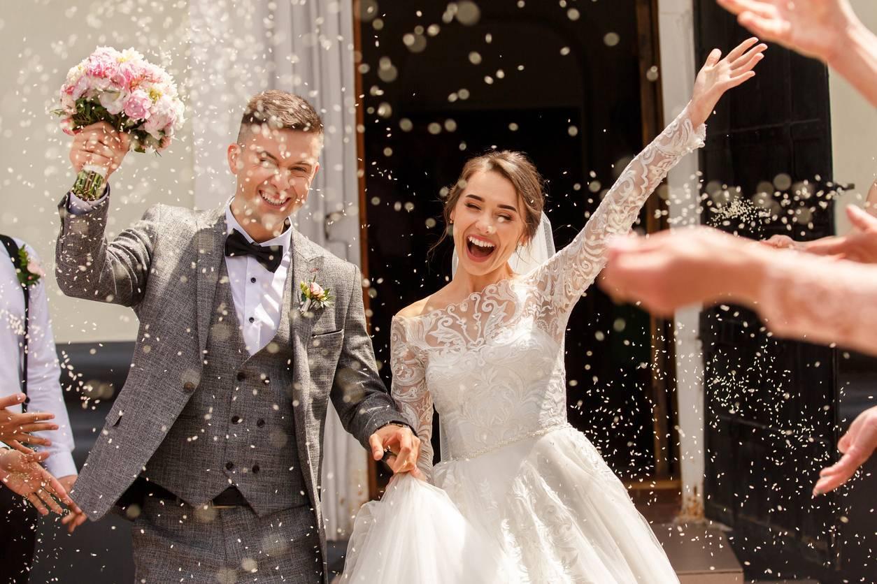 la sortie des mariés, photo